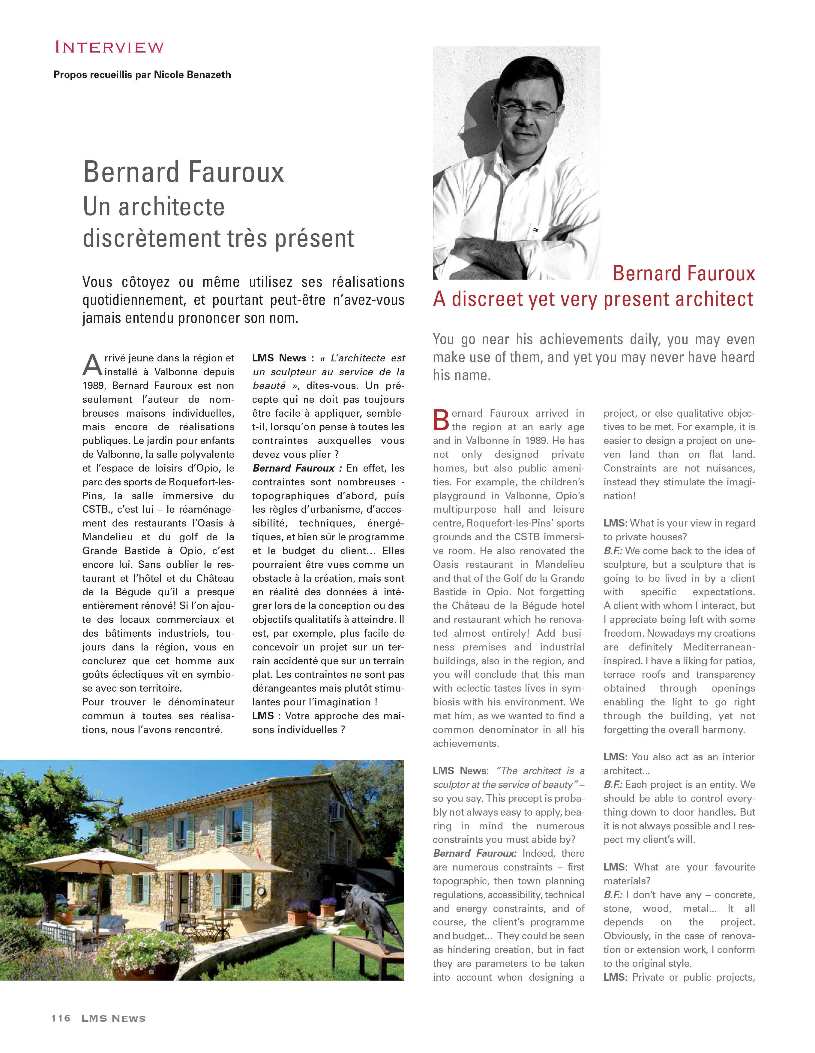 FAUROUX ARCHITECTE VALBONNE PROVENCE ALPES COTE D'AZUR NICE LMS NEWS 1