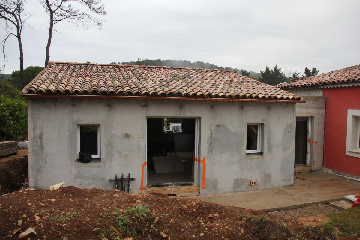 extension of a villa construction in progress mougins bernard fauroux architecte dplg. Black Bedroom Furniture Sets. Home Design Ideas