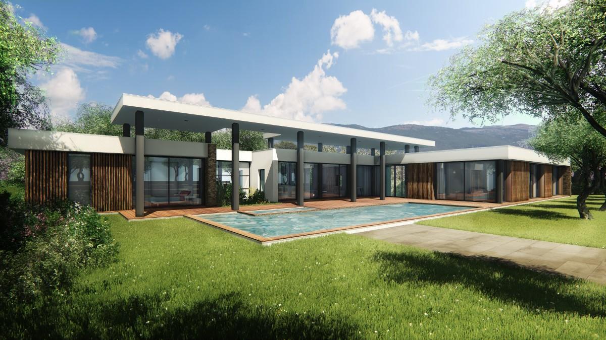 villa contemporaine avec piscine mouans sartoux bernard fauroux architecte dplg. Black Bedroom Furniture Sets. Home Design Ideas